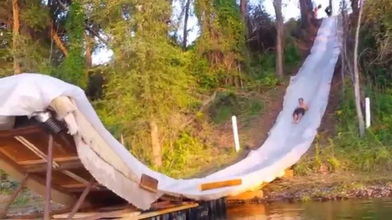 100ft Backyard Slip 'n Slide and Lake Jump - YouTube