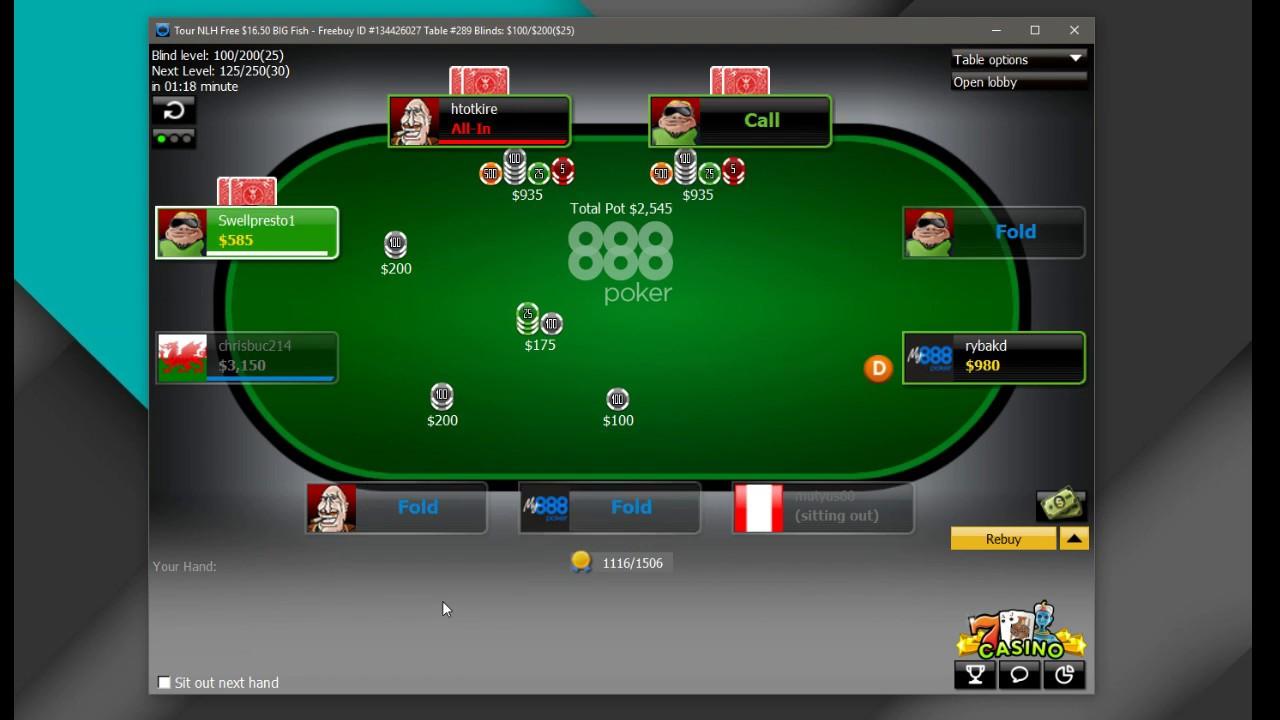 888 Poker 16 5 Big Fish Freeroll Online Poker Texas Hold