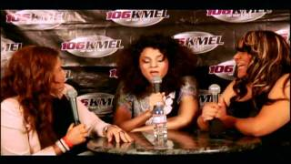 Marsha Ambrosius sits backstage at 106 KMEL