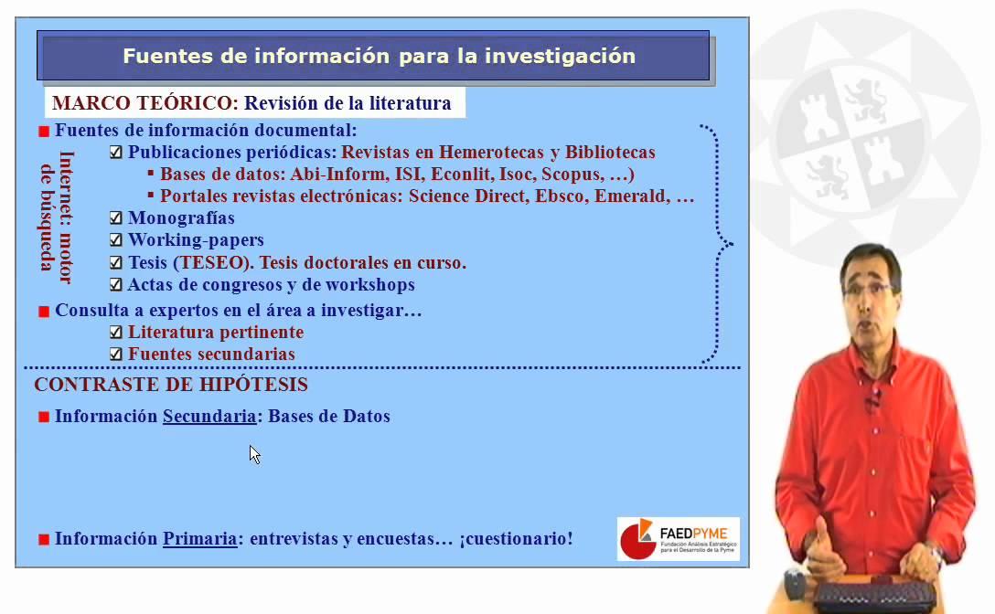 Metodología de investigación.Fuentes de información para la ...
