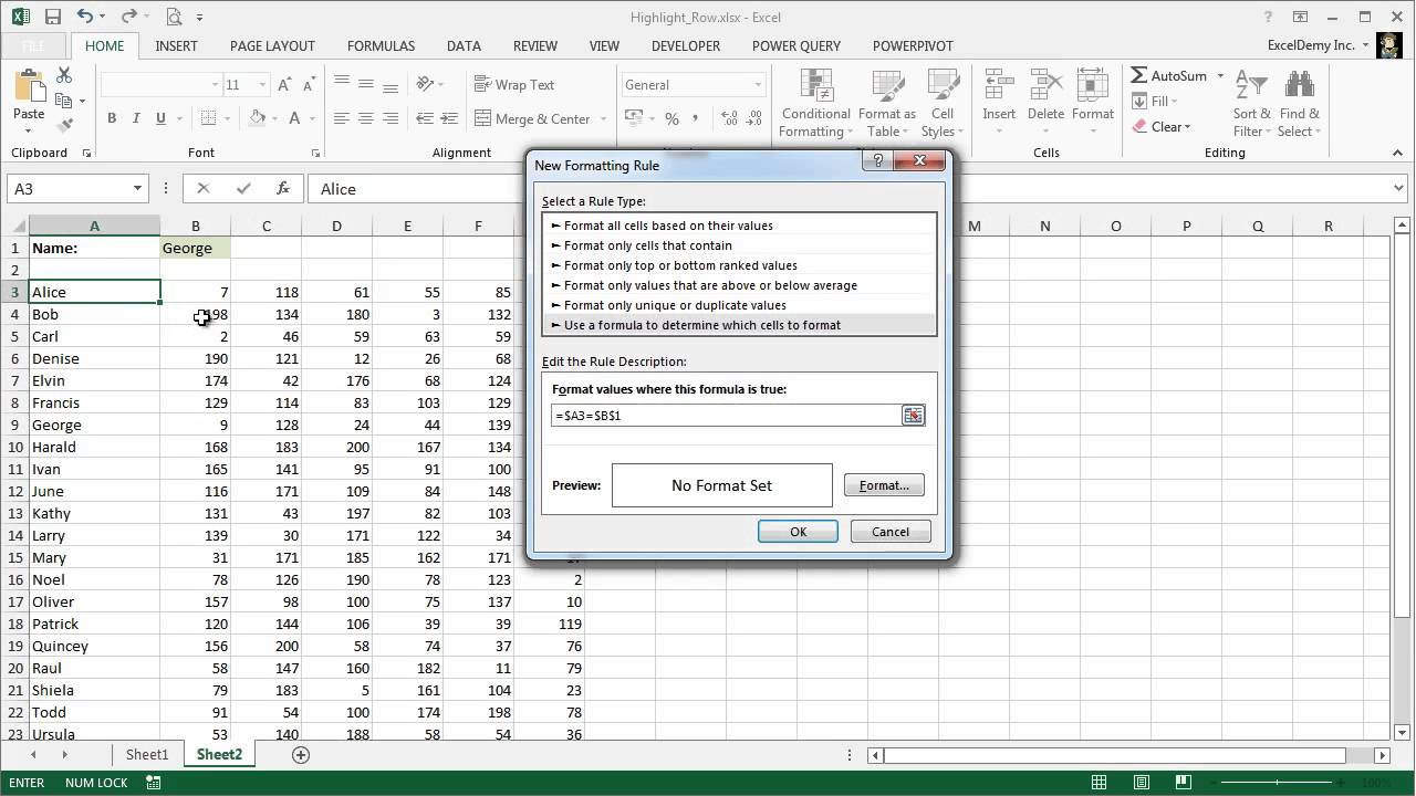 Excel Conditional Formatting Based on Another Cell - Highlighting Rows