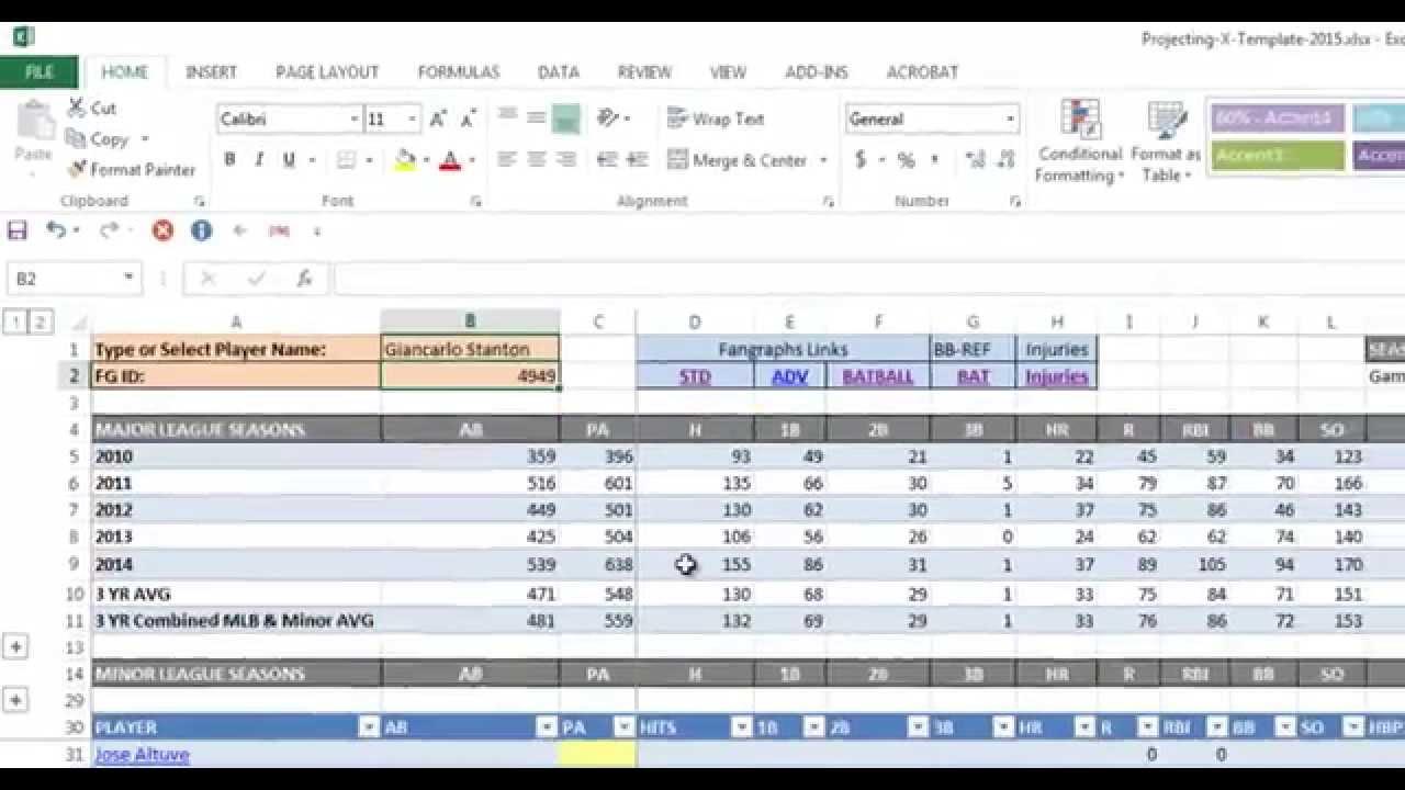 Fantasy Baseball Stats Excel Spreadsheet