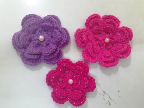 Make Crochet Big Size Flower With 3 Layer Petals Youtube