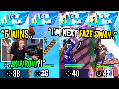 I met the NEXT FAZE SWAY and got 5 BACK TO BACK wins in Fortnite... (must see)