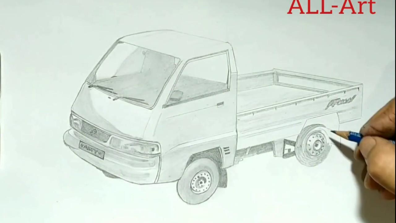 Menggambar Mobil Pick Up Menggunakan Pensil Youtube