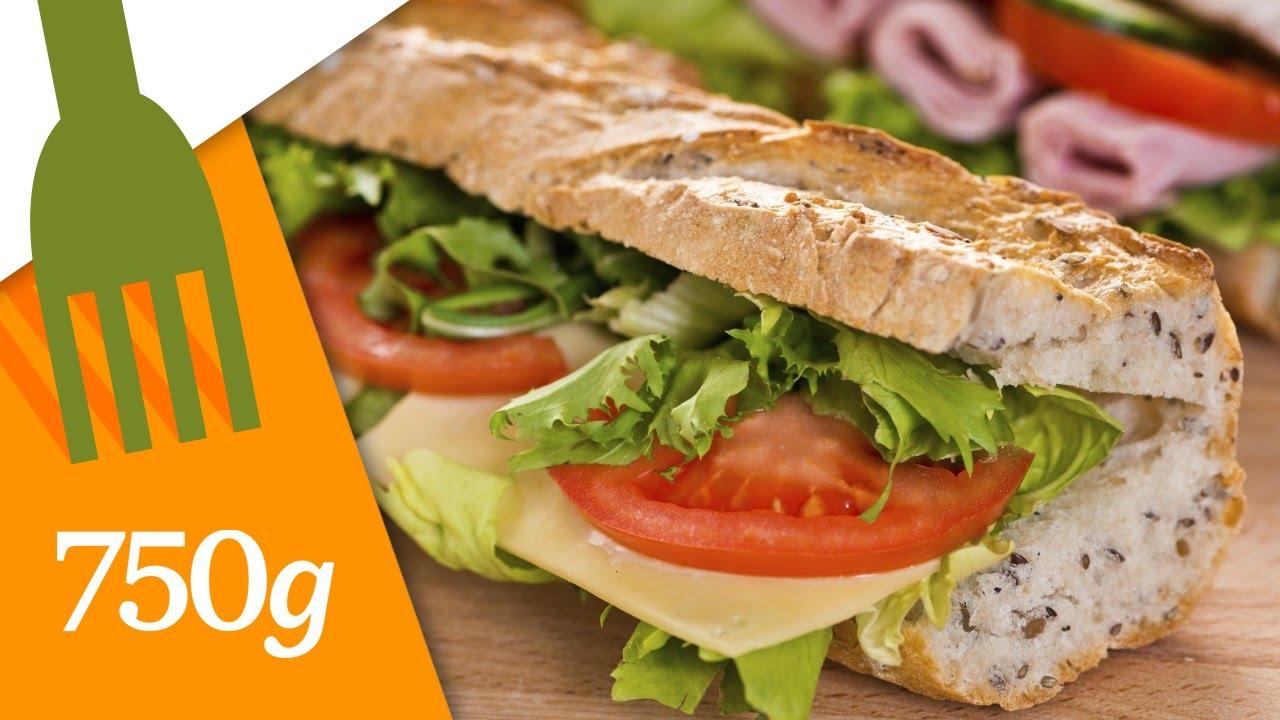 Recette du sandwich aux crudit s ou sandwich dagobert 750 grammes youtube - Idee de sandwich froid ...