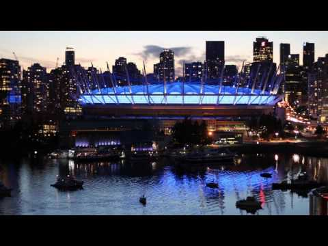 Time lapse of the BC Stadium at sunset. Vancouver, BC Canada. Time Lapse 2016 False Creek