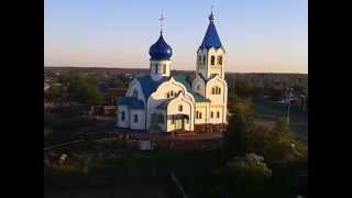 Вид сверху  города Бирюсинска Церковь