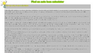 How to : Find an auto loan calculator