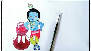How to draw and paint Bal Krishna tutorial in simple steps.