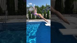 Fancy Diving Jumps off Diving Board in Pool #shorts