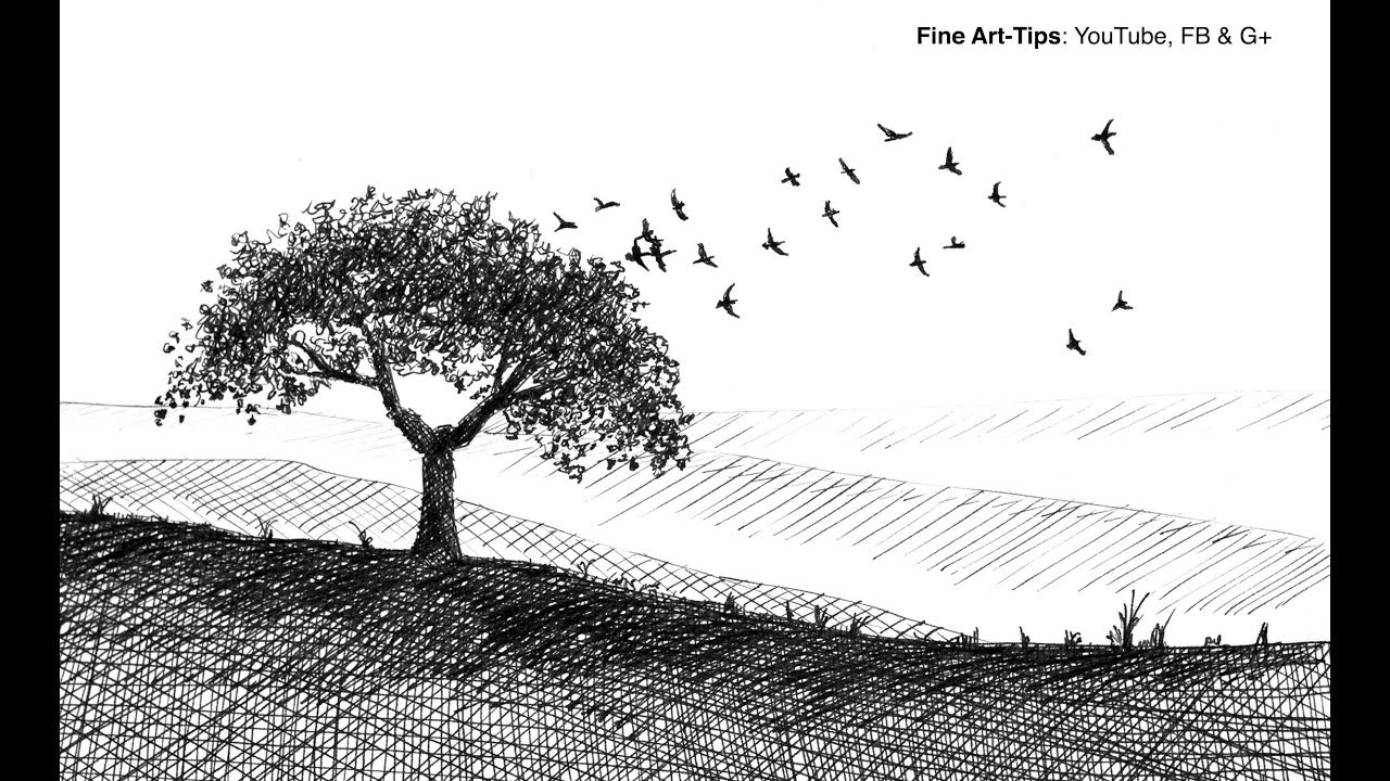 How To Draw A Tree And Birds With Fountain Pen Super Easy Narrated