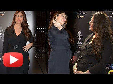 Pregnant Kareena Kapoor Shows Off HUGE BABY BUMP At MAMI Festival 2016 - UNCUT
