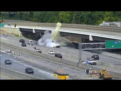 Semi truck strikes barrier (Interstate 435, Overland Park, Kansas)