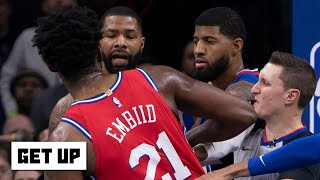 Joel Embiid and Marcus Morris shoved each other in the 76ers' win vs. the Clippers | Get Up