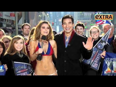 Maria Menounos Honored Her Bet And Wore A Giants Bikini In The Freezing Cold