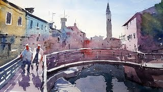 Watercolor Tutorial - How to simplify the scene in a Venice painting - Demo by Tim Wilmot #34