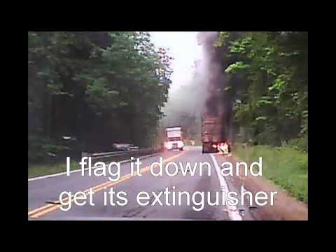 Tractor-Trailer Truck on Fire