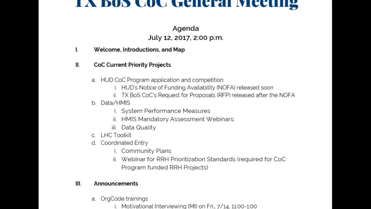 Texas Balance of State July 2017 General CoC Meeting - YouTube