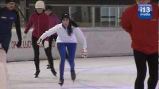 Chileense schaatsers met olympische ambitie voor het eerst op het ijs.