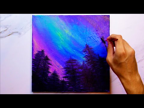 Easy Northern Lights Forest Landscape l Painting For Beginners |  Relaxing  | Satisfying l #0150