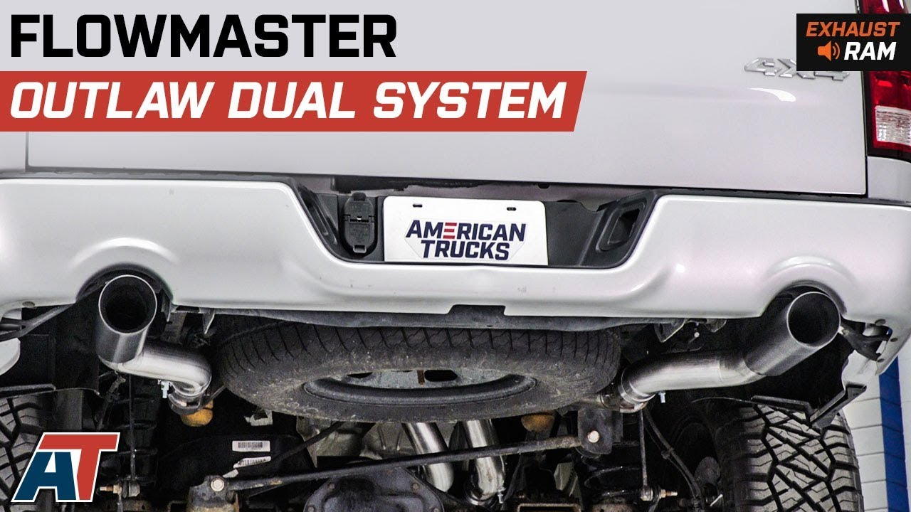 2009 2018 ram 1500 flowmaster outlaw dual system side rear exit 5 7l exhaust sound clip install