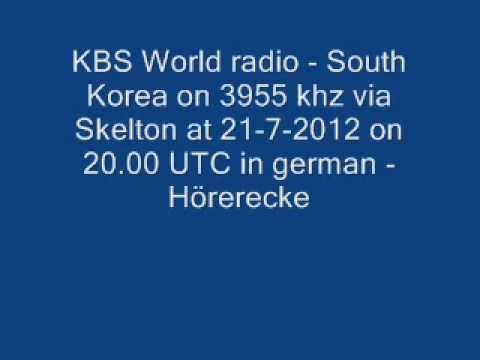 KBS World radio - South Korea on 3955 khz via Skelton at 21-7-2012 on 20.00 UTC in german