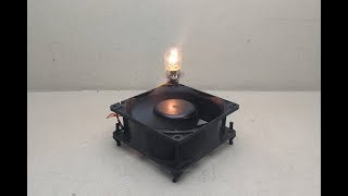Free energy electric with Light bulb 12v and fan - Science experiment Project at home