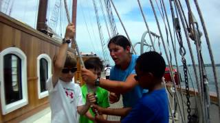 OHPRI Education At Sea -- Kids learn how to raise Jibs, Schooner Mystic 2014