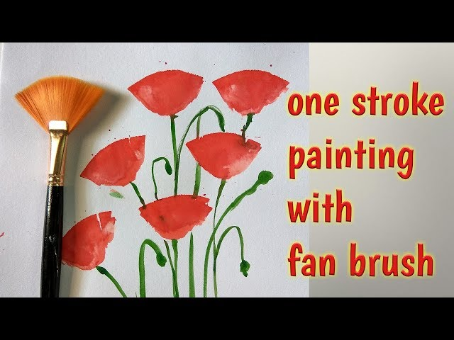 Poppy flowers# one stroke painting in watercolor with fan brush