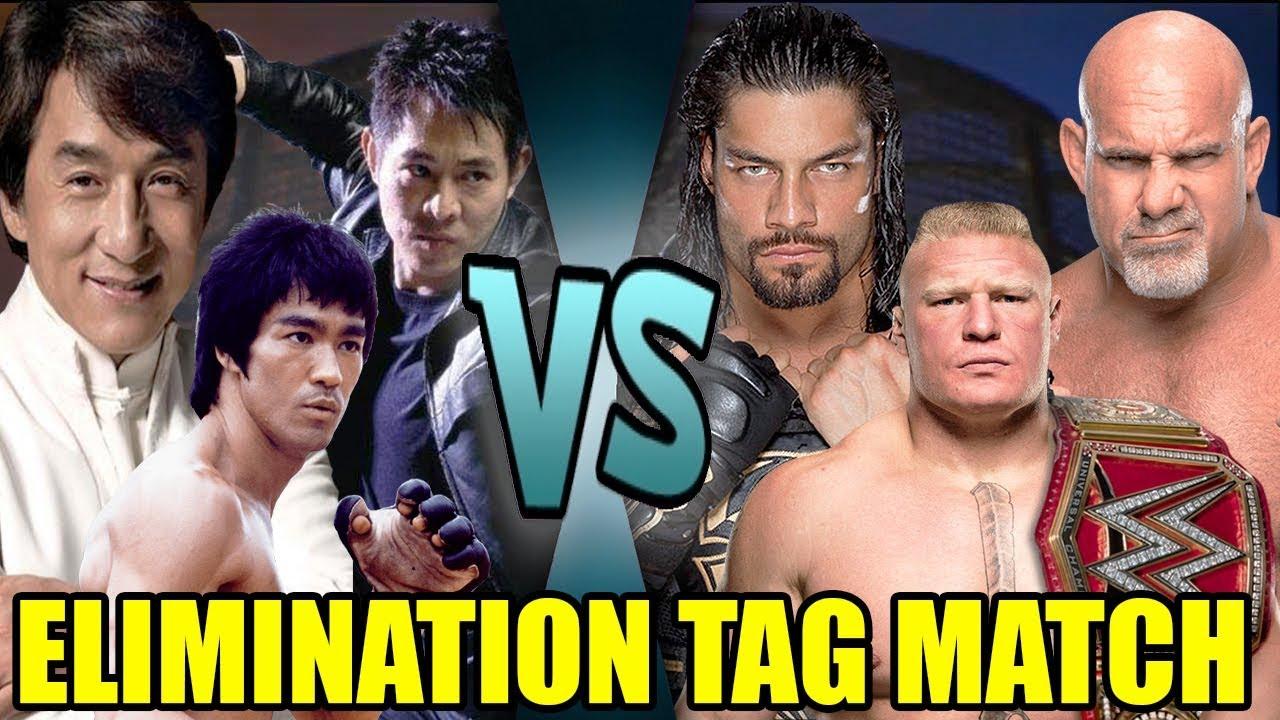 Download Bruce Lee, Jackie Chan & Jet Li vs Brock Lesnar, Goldberg & Roman Reigns (Elimination Tag)