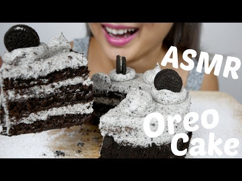OREO Cookie & Cream CAKE | ASMR *NO Talking Soft Eating Sounds | N.E Let's Eat
