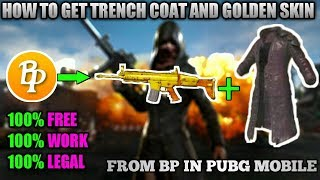 HOW TO GET TRENCH COAT AND GOLDEN SCAR-L SKIN FREE WITH BP IN PUBG MOBILE