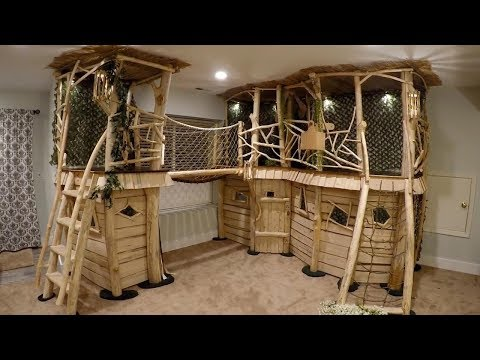 Dad Builds Dream Indoor Treehouse