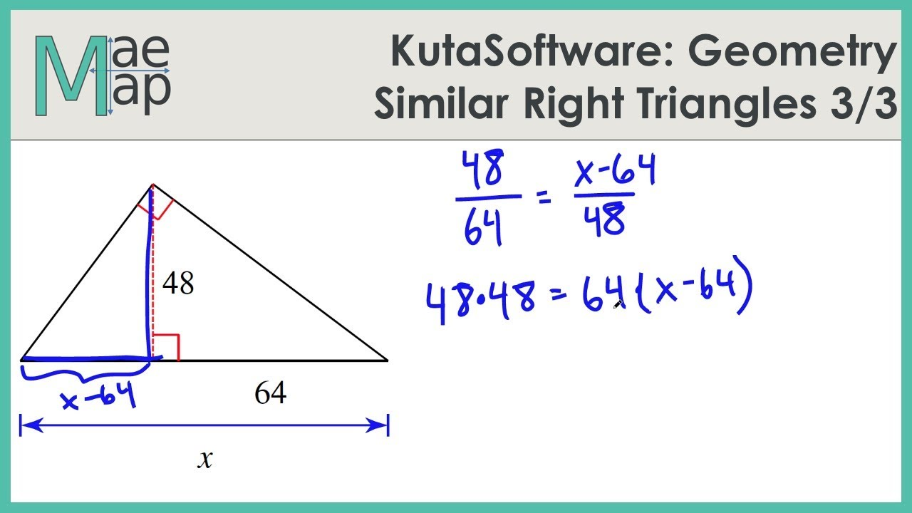 Kutasoftware Geometry Similar Right Triangles Part 3 Youtube
