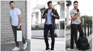 MEN'S BACK TO SCHOOL OUTFITS   Fashion Lookbook Inspiration    3 Easy and Affordable Outfits for Men