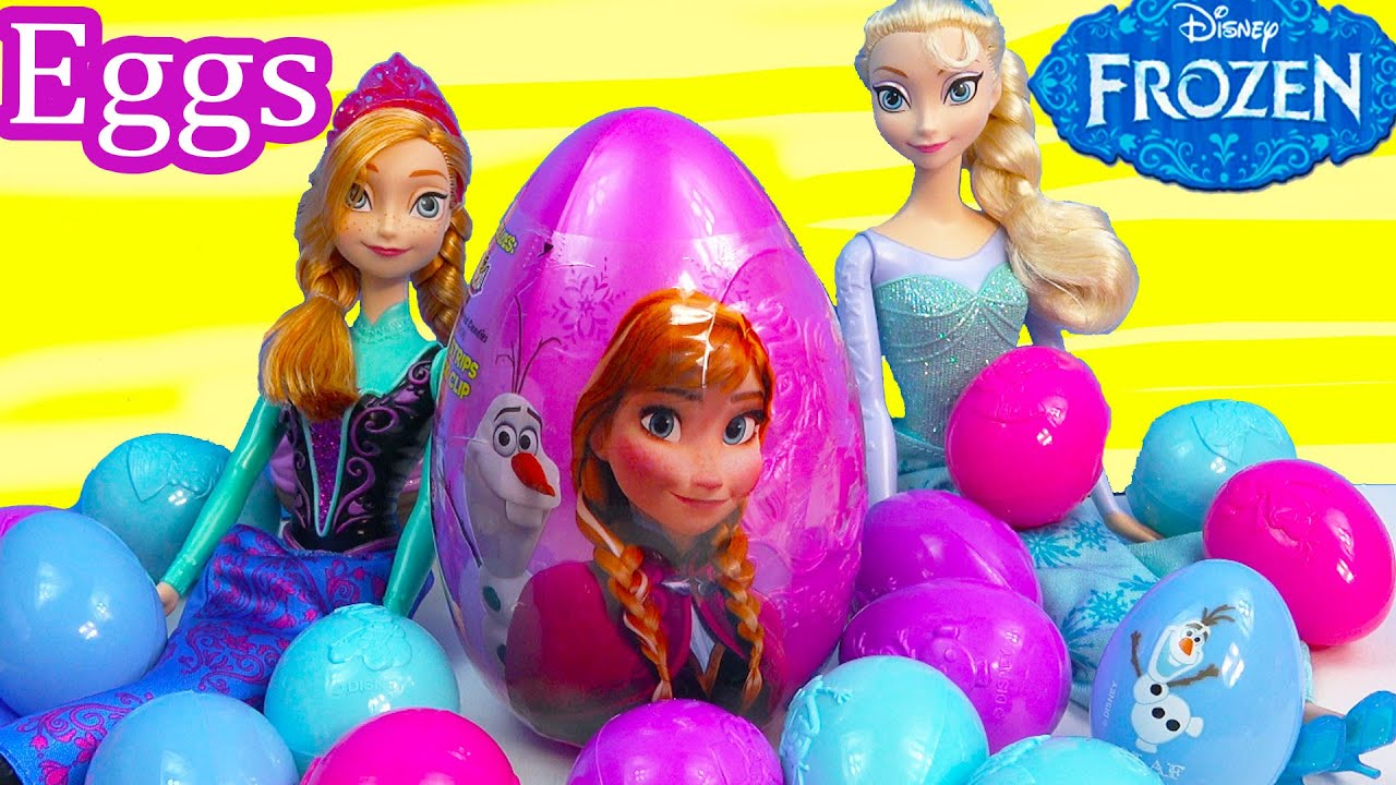 b121993aa855 Queen Elsa Princess Anna Surprise Mystery Eggs Disney Frozen Olaf Snowman  Easter Candy Unboxing