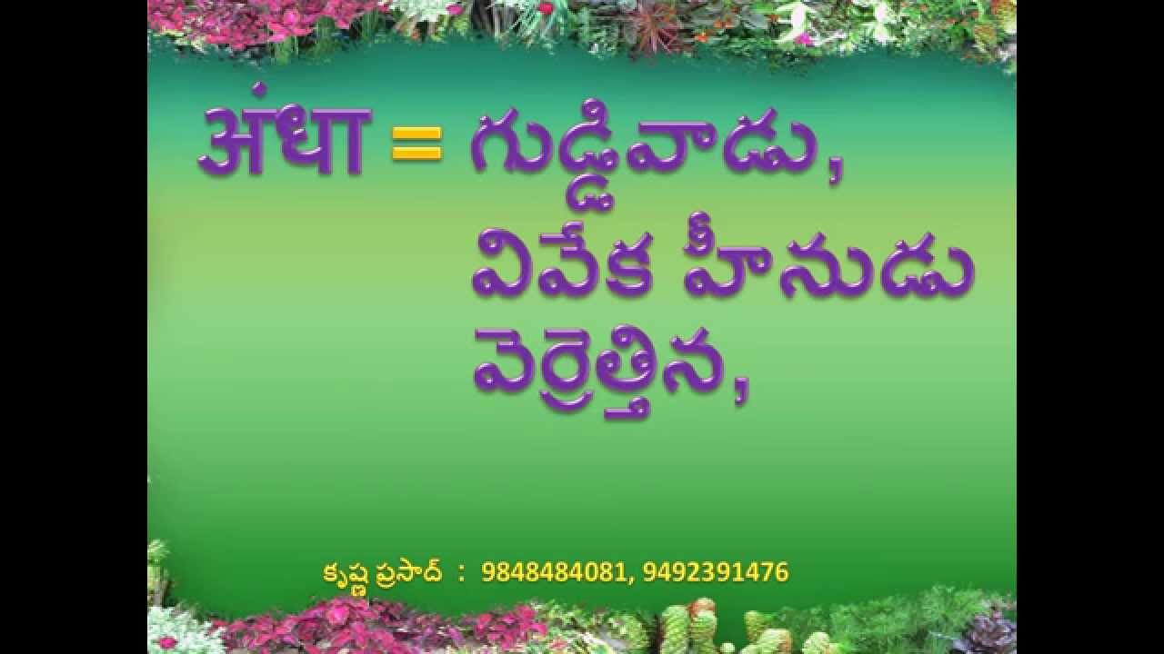 Telugu Meanings for Hindi Words with ' अं ' (2 lettered)
