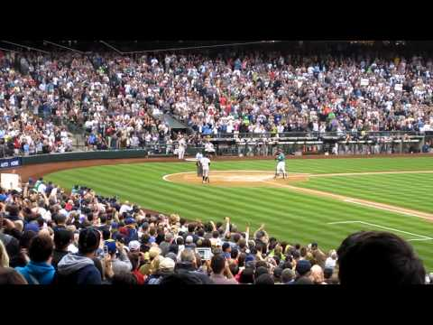 Ichiro's first at-bat as a Yankee (at Safeco Field, no less)