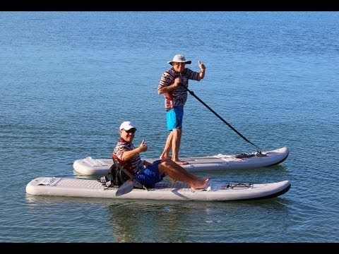 Inflatable Double SUP Paddle Board / Kayak Combo. Patent Pending.