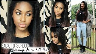Back to School: Makeup, Hair, & Outfit! Thumbnail