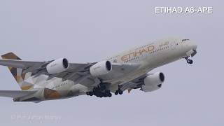 ETIHAD Airbus A380 powerful takeoff from Oslo Airport Gardermoen Norway