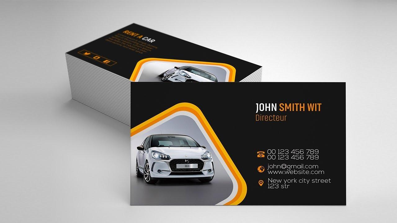 Rent a Car Business Card Design  Photoshop Tutorials Inside Automotive Business Card Templates