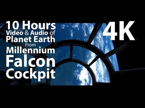 4K 10 hours - Falcon Cockpit view flying over Earth from Space using NASA's footage - relaxing