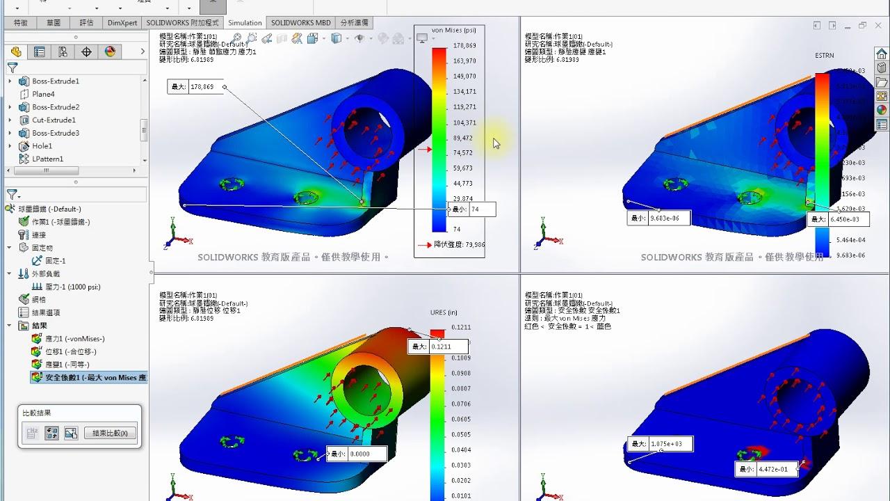 Solidworks simulation part stress analysis 零件的靜態應力分析 3 (改變材料) - YouTube