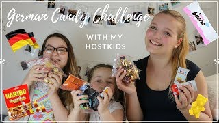 Trying GERMAN CANDY with my AMERICAN HOSTKIDS (English Video) | Hannah in Amerika