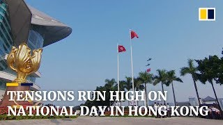 Tensions run high on National Day in Hong Kong