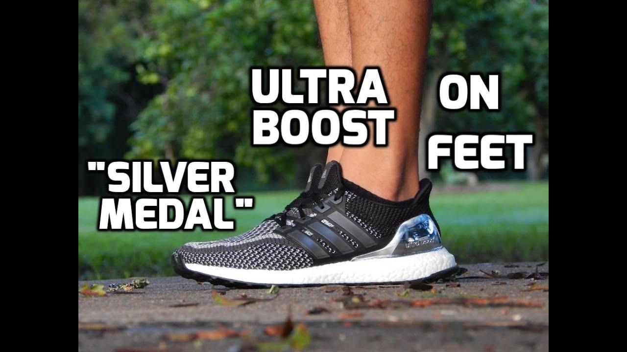 Adidas Ultra Boost Silver Medal On Feet