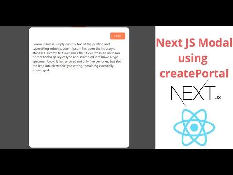 Implement Modal in Next JS using createPortal   Next JS Modal