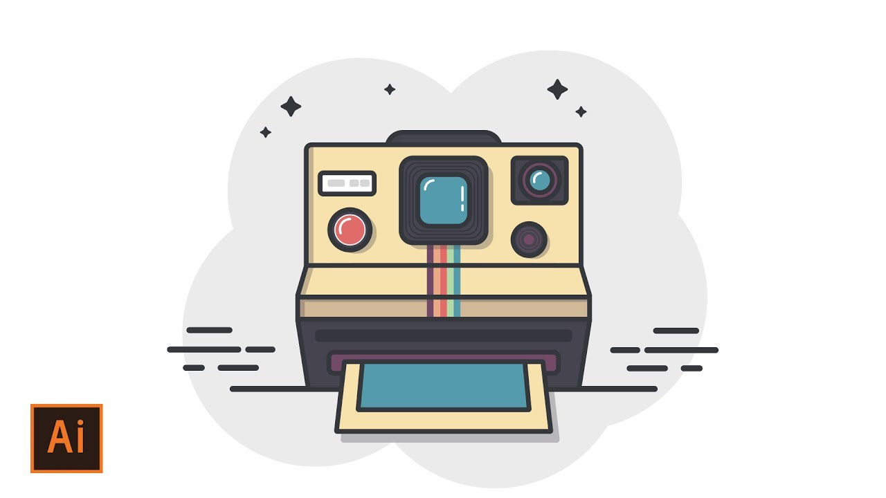 Illustrator Tutorial - Polaroid Camera Icon Flat Design ...